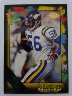6faa53ed850 1991 Wild Card #111 Chris Doleman Minnesota Vikings 10 Stripe Football Card  #MinnesotaVikings