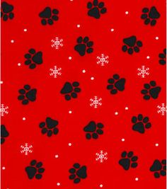 Holiday Showcase™ Christmas Cotton Fabric 43''-Pawprints on Red