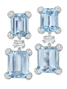 PHILLIPS : NY060212, , A Pair of Aquamarine and Diamond Ear Pendants