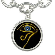 BLUE TALISMAN / EYE OF HORUS ,Black Charm Bracelet by Bulgan Lumini
