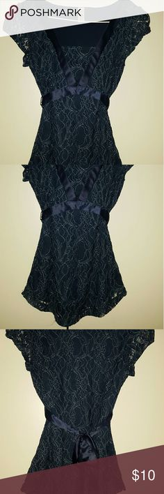 Lacey Dress Top Navy & Teal tie back top with a gorgeous lace overlay.  Sheer short sleeves. Merona Tops Blouses