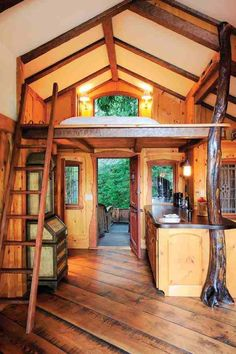 Easy to Build Tiny House Plans! This tiny house design-build video workshop shows how… Tiny Cabins, Cabins And Cottages, Log Cabins, Rustic Cabins, Rustic Cottage, Tiny House Movement, Tiny House Living, Tiny House Design, Wood House Design