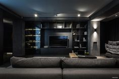 A twilight atmosphere in a contemporary home interior by the Ukrainian design studio YoDezeen. The dark, mysterious emanation of this urban apartment is Urban Apartment, Apartment Interior, Home Interior, Interior Design, Design Studio, House Design, Feature Wall Design, Home Cinema Room, Home Theater Design