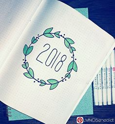 Bullet Journaling cover for 2018. This design is perfect for beginners, simple and clean lines are easy to replicate.   #BUJO #Bujo2018 #MildLiners #FaberCastell #LMNOBenedict