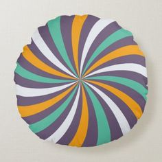 Sophisticated Dusty Purple Lollipop Swirl Round Pillow