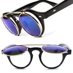 Cool Blue Revo Lens 70s Vintage Retro Flip Mens Womens Round Sunglasses B23C #KISS #Round
