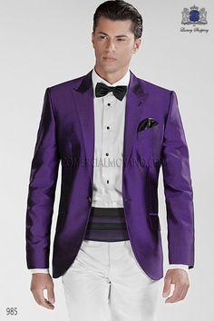 Traje de novio italiano a medida, chaqueta esmoquin morado en tejido shantung…