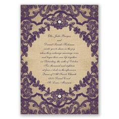 We've captured the look of true romance using antique lace and burlap on this vintage wedding invitation! Beautiful printed embroidered lace pops over a burlap-look background. Add optional stick on pearls for a classic accent. Shown here in Plum. #davidsbridal #invitations #weddinginvitations #purpleweddings #lace