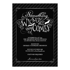 Something Wicked Happy Halloween Party Invitation #halloween #party #invitations