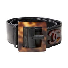 Chanel leather belt with horn detailing and logo's   From a collection of rare vintage belts at https://www.1stdibs.com/fashion/accessories/belts/