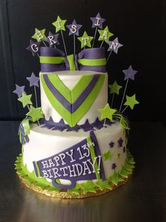 This 2 tier buttercream and fondant cake is perfect for your cheerleader