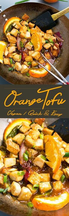 Asian Pan-Fried Orange Tofu recipe made with tofu orange juice & zest onions sesame seeds and more. A simple healthy & delicious vegan lunch / dinner. Veggie Recipes, Asian Recipes, Whole Food Recipes, Vegetarian Recipes, Cooking Recipes, Healthy Recipes, Simple Tofu Recipes, Cooking Tips, Orange Tofu Recipe