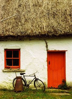 thatched roof, red door, bicycle x c The Places Youll Go, Places To Go, Irish Cottage, Ireland Travel, Galway Ireland, Cork Ireland, Adare Ireland, Ireland Vacation, Thatched Roof