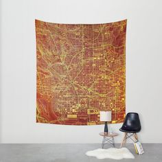 Orange Wall Tapestry Large Washington 1945 Map - Available in three sizes. Wall Tapestry office decor Abstract Vintage colorful map (68.90 USD) by allmaps