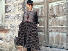 Patchwork tunic hand printed natural dye art wear by MadameHall