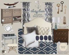 Calming Classic Master Bedroom Mood Board | Teal and Lime Interiors