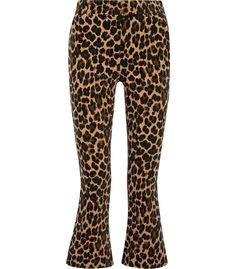 FRAME Leopard print cropped flares from Frame. Velvet Flare Pants, Cropped Flare Pants, Leopard Print Pants, Polka Dot Pants, High Waisted Flares, Printed Trousers, Brown Pants, Slim Fit Pants, Frame Denim