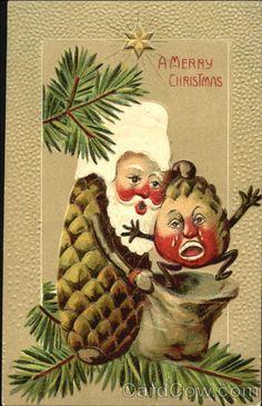 gah! creepy scary santa claus ... pinecone ... doing bad things