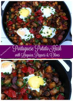 Portuguese Potato Hash with Linguica, Peppers & Olives. Packed with flavor and perfect for breakfast, brunch or dinner! Brunch Recipes, Breakfast Recipes, Dinner Recipes, Brunch Food, Free Breakfast, Dinner Ideas, Linguica Recipes, Portuguese Potatoes, Portuguese Recipes