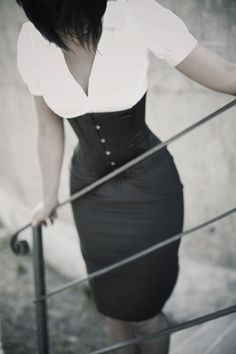 Blouse, corset and pencil skirt