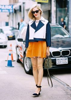 Tangerine and blue outfit; mini skirt and jacket