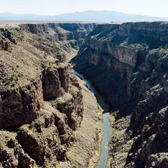 The Rio Grande flows thru the Taos gorge; Taos, New Mexico New Mexico Road Trip, Travel New Mexico, Taos New Mexico, Rio Grande Gorge, New Mexican, Land Of Enchantment, Red River, National Parks, Places To Visit