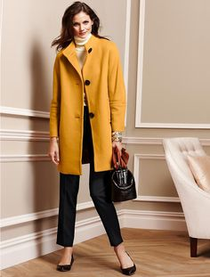 Plush Twill Coat by talbots Harvest Gold