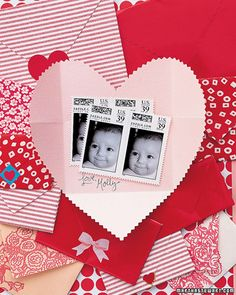 Heart Envelope Card  Enclose a thoughtful gift -- such as custom stamps, which you can create online using your own pictures -- in a charming heart-shaped envelope that doubles as a card when you write a note inside.