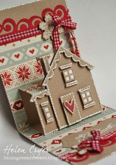 gingerbread house cards, pop up cards, gingerbread houses, cut hous, hous card