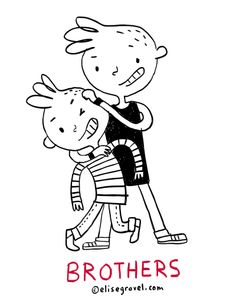 Elise Gravel illustration • brothers • boys • kids • love • family • siblings • cute • drawing