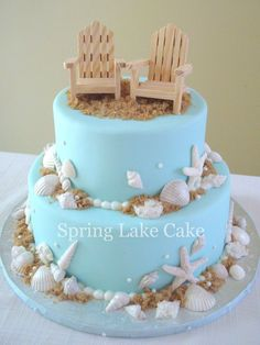 Beach Wedding Cake - Beach themed wedding cake with chocolate shells.