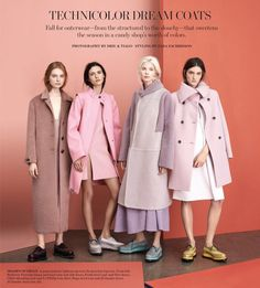 Technicolor Dream Coats: Iana Godnia, Dasha Gold, Carly Moore And Anna Piirainen By Driu & Tiago For Wsj September 2014