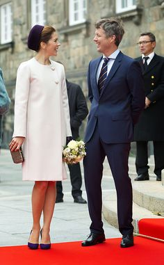 "Danish Crown Prince Couple: October 7, 2014 Crown Princess Mary and Crown Prince Frederik attend the opening of the ""Folketing"", the Danish Parliament, in part at Christiansborg Palace."