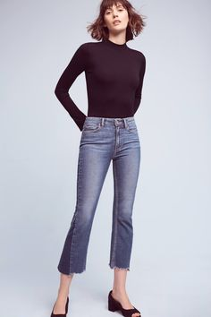Slide View: 1: Paige Colette Low-Rise Cropped Flare Jeans