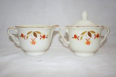 Vintage Hall's Superior Quality Kitcheware Autumn Leaf Sugar and Creamer