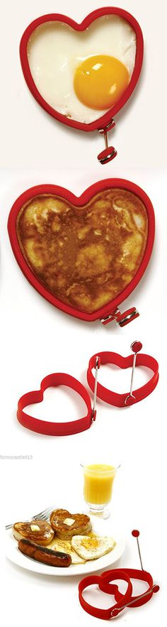 2pc Silicone Heart Pancake/egg Rings (Red)