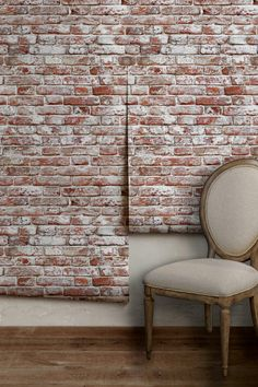 Whitewashed Antique Brick Removable Peel 'n Stick Wallpaper Custom Lengths to 15 feet