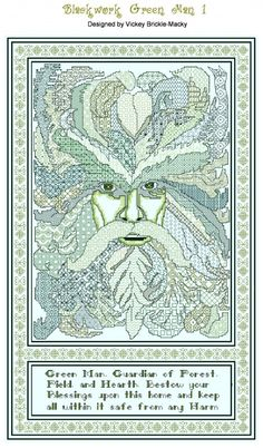 Not embroidery but totally worth a cross stitch project! ~ Blackwork Green Man by Fan Xstitch Pagan Cross Stitch, Blackwork Cross Stitch, Free Cross Stitch Charts, Fantasy Cross Stitch, Blackwork Embroidery, Cross Stitch Kits, Cross Stitch Designs, Cross Stitching, Cross Stitch Embroidery