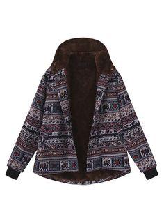 0c6d5447c68b2 Gracila Ethnic Print Fleece Thick Hooded Coats For Women is hot sale on  Newchic