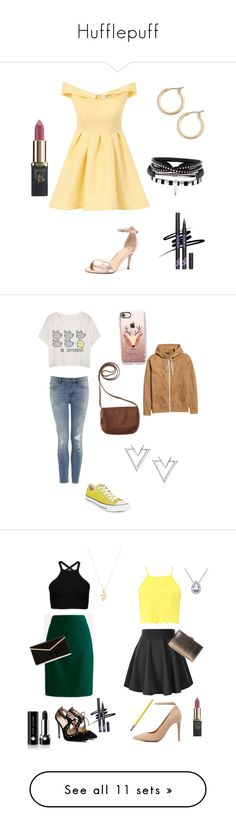 Hufflepuff by attackonspn on Polyvore featuring polyvore, Chi Chi, Nordstrom, Verali, L'Oréal Paris, fashion, style, clothing, Aéropostale, Converse, Casetify, Nadri, J.Crew, Boohoo, Anne Michelle, Marc Jacobs, Revlon, Burt's Bees, Charlotte Russe, Zero Gravity, Giani Bernini, 2LUV, JustFab, NARS Cosmetics, Beach Riot, L*Space, WithChic, Argento Vivo, Merona, ZeroUV, Ilia, George, Lord & Taylor, Franco Sarto, American Apparel, Society43, tarte, John Lewis, Mat, Steve Madden and Essie