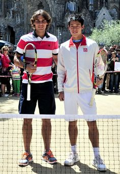 Spanish flair: Rafael Nadal and Kei Nishikori in Barcelona.  April 2012.  #tennis