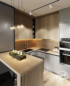 Kitchen Room Design, Modern Kitchen Design, Home Decor Kitchen, Kitchen Living, Interior Design Kitchen, Home Kitchens, Small Modern Kitchens, Modern Kitchen Interiors, Modern Kitchen Cabinets