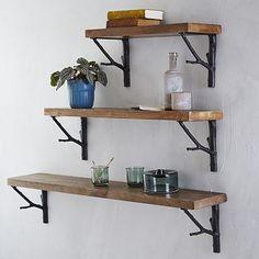 Reclaimed Wood Shelf + Branch Brackets