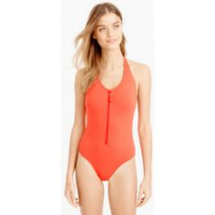 Long-torso zip-front halter swimsuit from J. Crew Tall