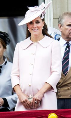 Catherine Middleton celebrated Queen Elizabeth's 87th birthday at the annual Trooping of the Coulour parade in London. For the occasion she wore a pastel pink Alexander McQueen with pearl buttons and a Jane Corbett fascinator, June 2013