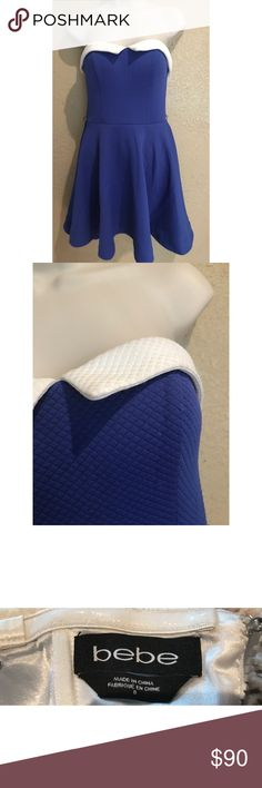 Bebe Purple White Collared Strapless Dress Condition: No Defects. Size: 0 bebe Dresses
