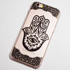 Black Hamsa iPhone 6 / 6S Transparent Hard Case - Buddhist Hand Eye - Mano de Fatima
