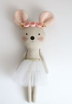 Pink & Gold mouse ballerina in a white tutu. Stuffed animal mouse. Rag dolls. Nursery decor. Birthday gift idea.