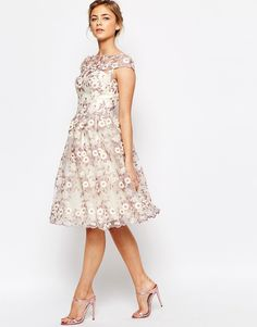 Image 4 of Chi Chi London Premium Floral Lace Midi Dress with Bardot Neck