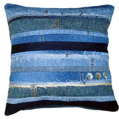 Upcycled Denim: Another durable accessory for your home. The kids, the dogs can't hurt this pillow made from recycled denim. You could even use your kids old jeans and have very little cost for the cover.